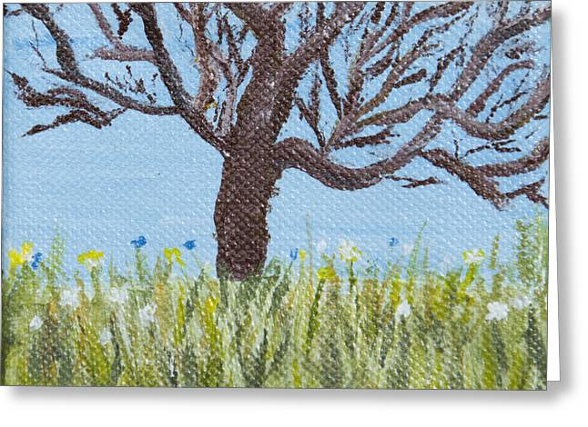 Olive Yellow Grass Greeting Cards - Meet me at the Tree 1 Greeting Card by Angella Kingston