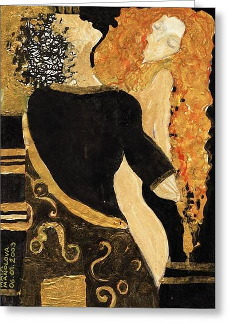 Meeting Gustav Klimt  Greeting Card by Maya Manolova