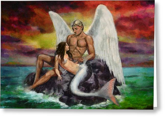 Angel Mermaids Ocean Greeting Cards - Meeting in the Middle Greeting Card by Christopher Lane