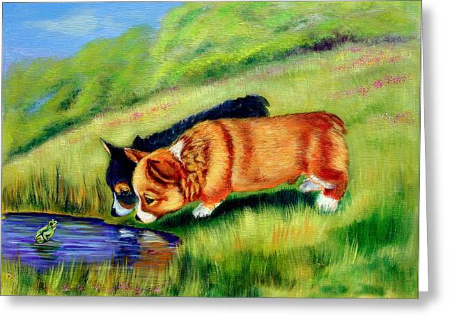 Recently Sold -  - Puppies Paintings Greeting Cards - Meeting Mr. Frog Corgi pups Greeting Card by Lyn Cook