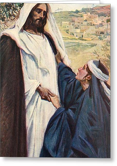 The Masters Greeting Cards - Meeting of Jesus and Martha Greeting Card by Corwin Knapp Linson