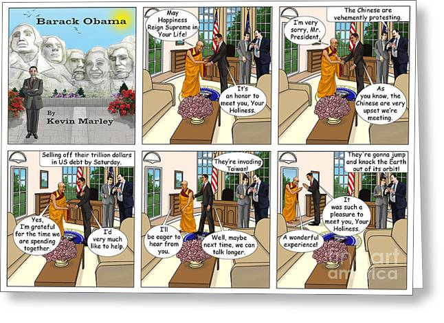 Barack Greeting Cards - Meeting The Dalia Lama Greeting Card by Kevin  Marley