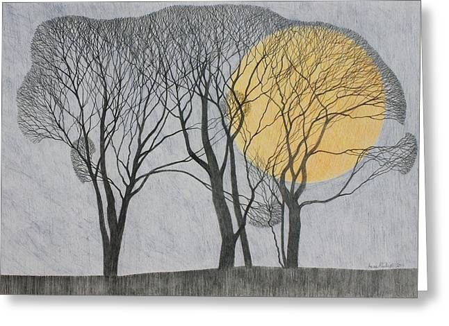 Landscape Drawings Greeting Cards - Megamoon Greeting Card by Ann Brain