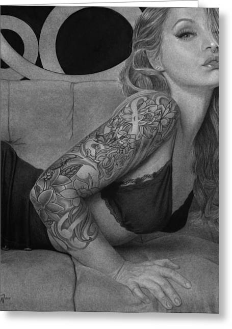 Realistic Drawings Greeting Cards - Megan Renee Greeting Card by Tim Dangaran