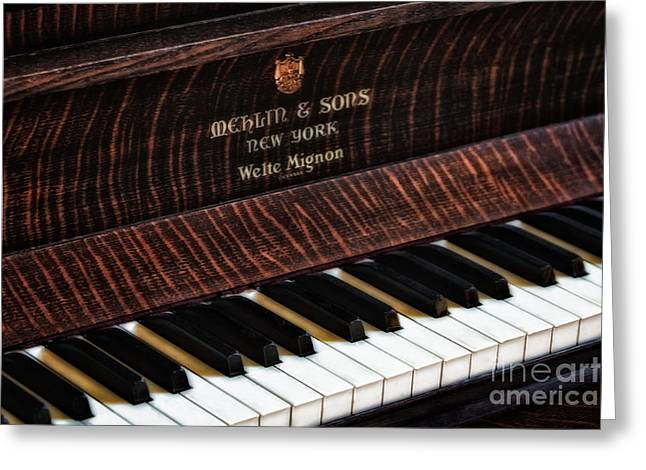 Mehlin And Sons Piano Greeting Card by Susan Candelario