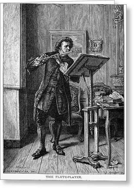 Music Stand Greeting Cards - Meissonier: Flute Player Greeting Card by Granger