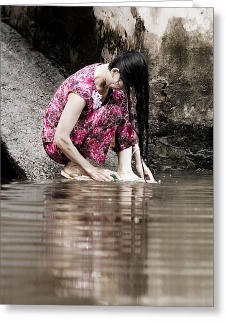 Mekong Delta Life Greeting Card by Iris Van den Broek