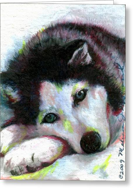Husky Drawings Greeting Cards - Melancholy Baby Greeting Card by Melissa J Szymanski