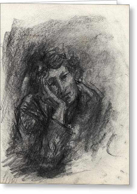 Emotions Drawings Greeting Cards - Melancholy Greeting Card by Ethel Vrana