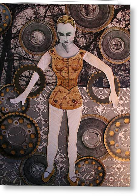 Cog Mixed Media Greeting Cards - Melanie Greeting Card by Jeanne Hollington