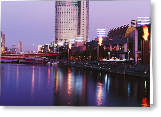 Office Space Photographs Greeting Cards - Melbourne and the Yarra River at Dusk Greeting Card by Jeremy Woodhouse