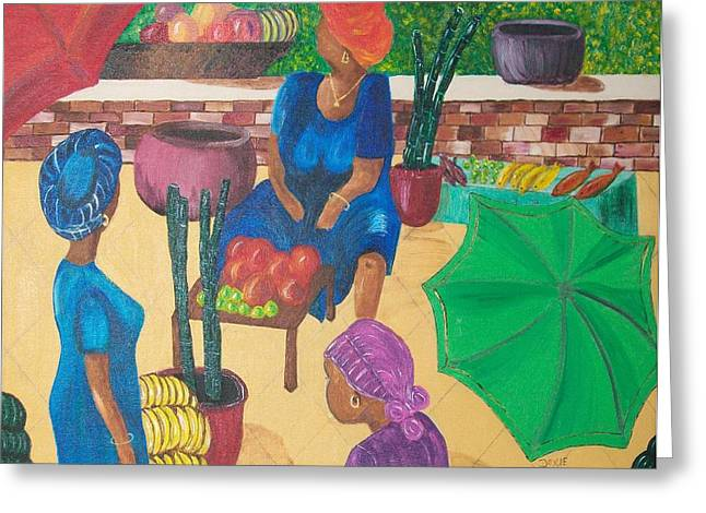 Mango Paintings Greeting Cards - Melee In The Market Greeting Card by Dixie Lee Hedrington