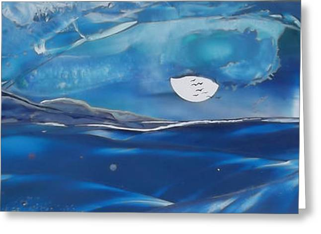 Surfer Art Greeting Cards - Mellow Moon Rise - Maui Greeting Card by Danita Cole