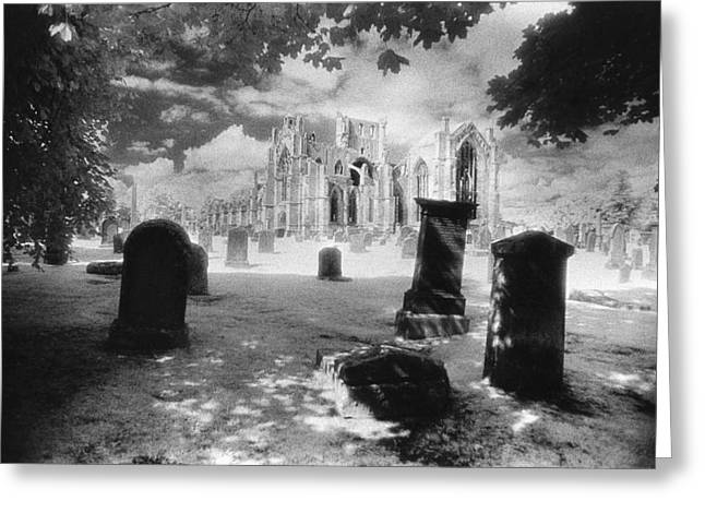 Uncanny Greeting Cards - Melrose Abbey Greeting Card by Simon Marsden