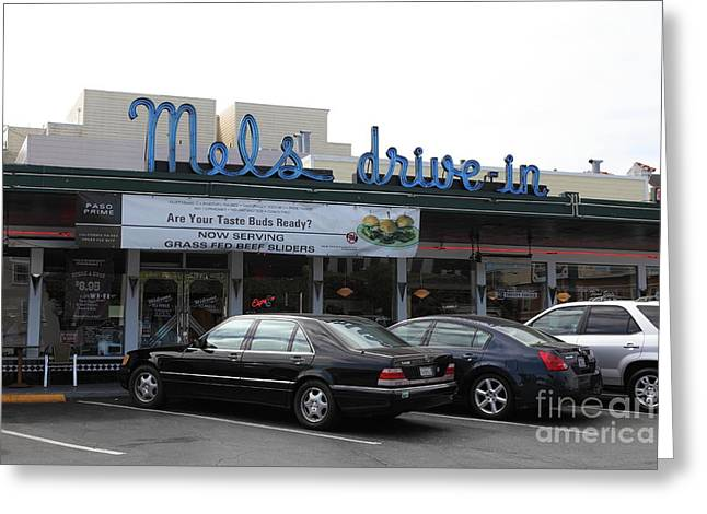 Mels Drive In Greeting Cards - Mels Drive-in Diner in San Francisco - 5D18012 Greeting Card by Wingsdomain Art and Photography