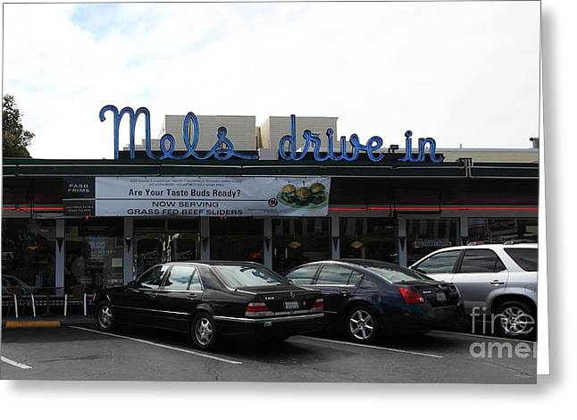 Mels Drive In Greeting Cards - Mels Drive-in Diner in San Francisco - 5D18013 Greeting Card by Wingsdomain Art and Photography