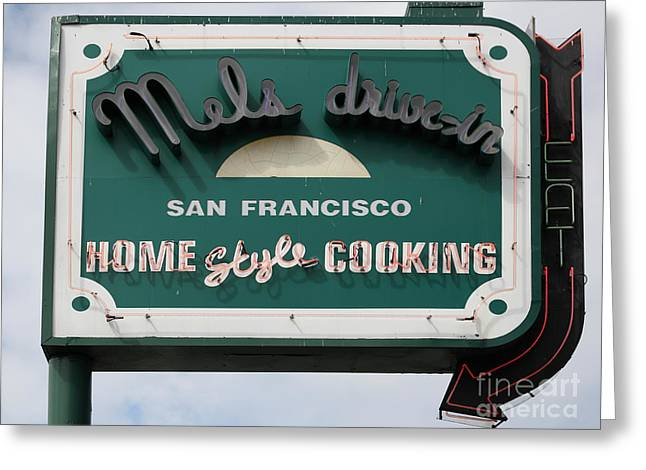 Mels Drive In Greeting Cards - Mels Drive-in Diner Sign in San Francisco - 5D18015 Greeting Card by Wingsdomain Art and Photography