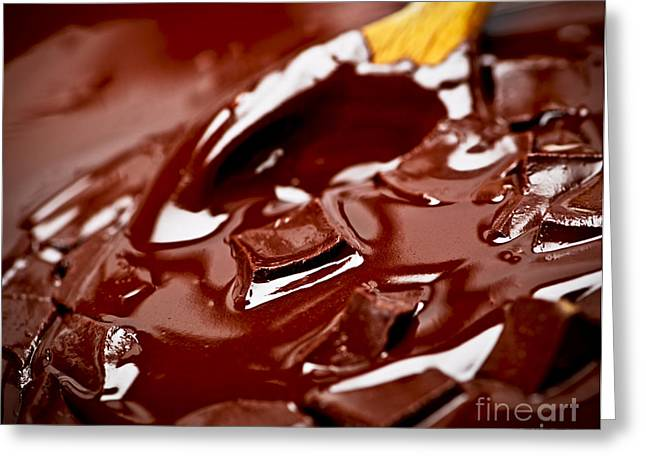 Melting Greeting Cards - Melting chocolate and spoon Greeting Card by Elena Elisseeva