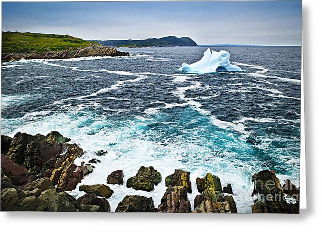 Snow Drifts Greeting Cards - Melting iceberg in Newfoundland Greeting Card by Elena Elisseeva