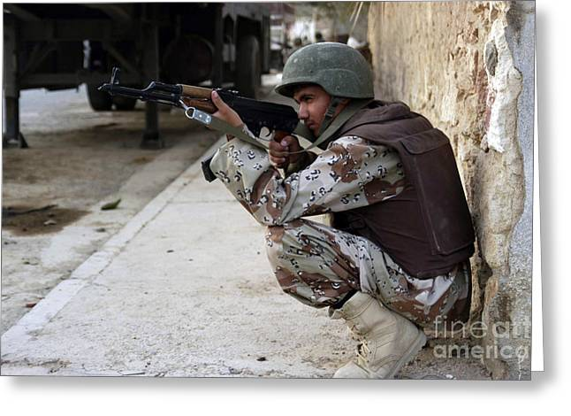 Urban Warfare Greeting Cards - Member Of The Iraqi Security Forces Greeting Card by Stocktrek Images