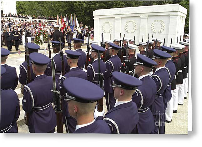 Arlington Photographs Greeting Cards - Members Of The Armed Forces Honor Guard Greeting Card by Stocktrek Images