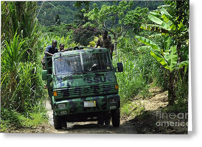 Jungle Warfare Greeting Cards - Members Of The Royal St. Lucia Police Greeting Card by Stocktrek Images