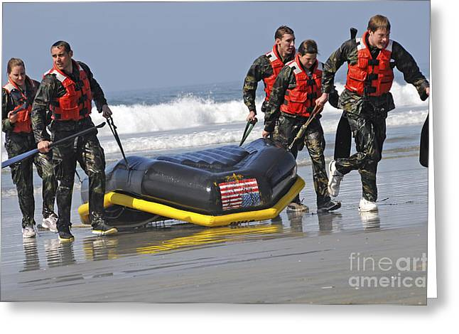 Inflatable Boats Greeting Cards - Members Of The Us National Swim Team Greeting Card by Stocktrek Images