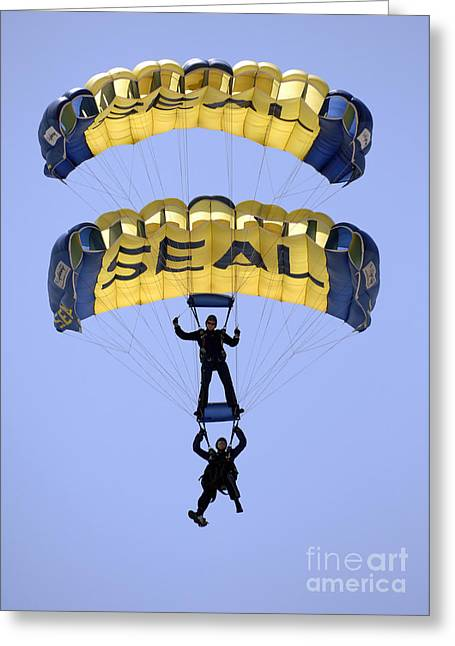 Recently Sold -  - Flying Frog Greeting Cards - Members Of The U.s. Navy Parachute Greeting Card by Stocktrek Images