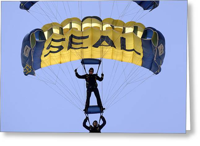 Members Of The U.s. Navy Parachute Greeting Card by Stocktrek Images