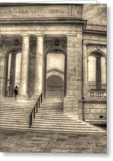 National Memorial Greeting Cards - Memorial Amphitheater Greeting Card by Greg and Chrystal Mimbs