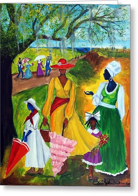 Gullah Art Greeting Cards - Memorial Day Greeting Card by Diane Britton Dunham