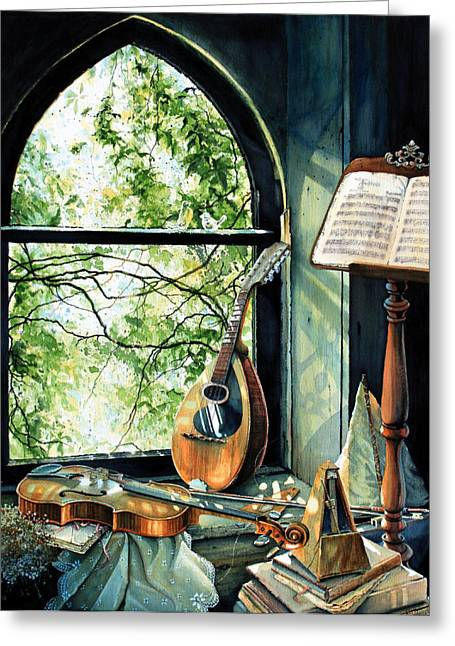 Music Stand Greeting Cards - Memories And Music Greeting Card by Hanne Lore Koehler