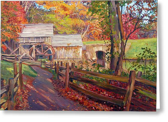 Grist Mill Paintings Greeting Cards - Memories of Autumn Greeting Card by David Lloyd Glover