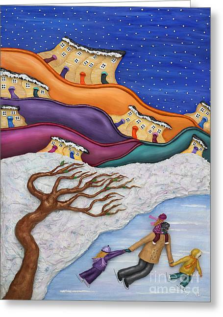 Town Mixed Media Greeting Cards - Memories On Ice Greeting Card by Anne Klar