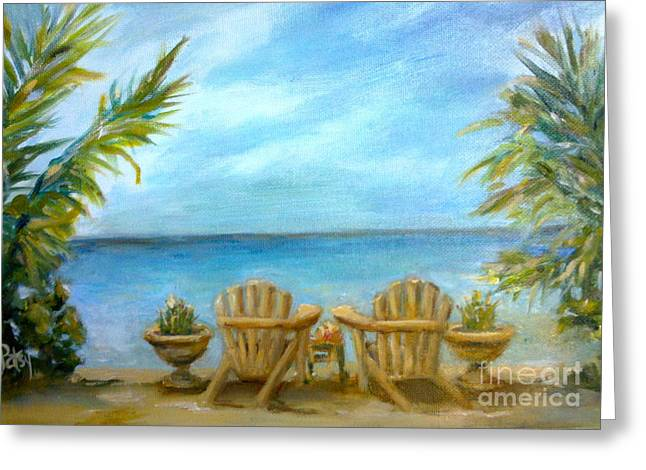 Adirondack Chairs On The Beach Greeting Cards - Memories Greeting Card by Patsy Walton
