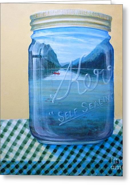 Water Jars Greeting Cards - Memories Pickel Jar Greeting Card by Sherrill Hull