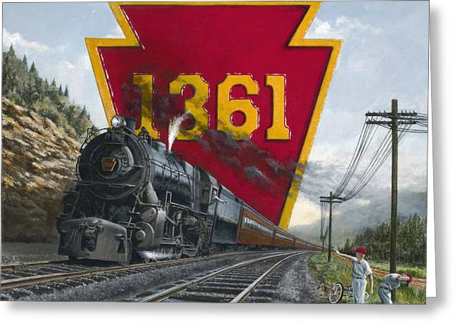 Trains Paintings Greeting Cards - Memories Relived Greeting Card by David Mittner