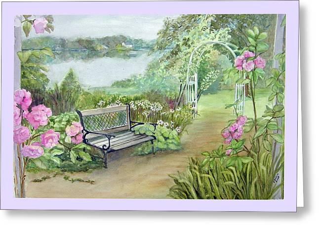 East Hampton Paintings Greeting Cards - Memory Garden at Lake Pocotopaug Greeting Card by Katherine  Berlin