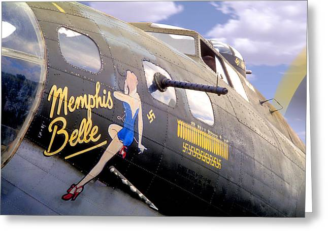 Warbird Art Greeting Cards - Memphis Belle Noce Art B - 17 Greeting Card by Mike McGlothlen