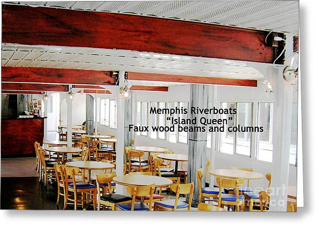 Faux Finish Greeting Cards - Memphis Riverboats Island Queen   Faux Wood on Steel Greeting Card by Lizi Beard-Ward
