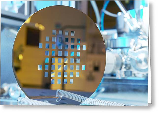 Component Greeting Cards - Mems Production, Machined Silicon Wafer Greeting Card by Colin Cuthbert