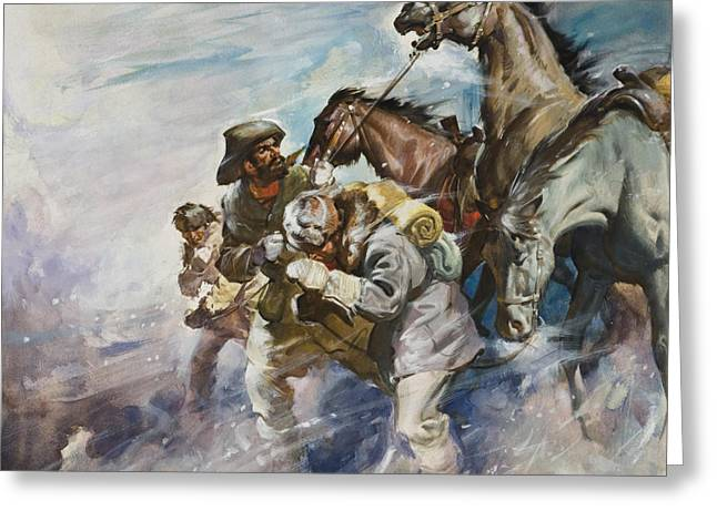 Out West Greeting Cards - Men and Horses Battling a Storm Greeting Card by James Edwin McConnell