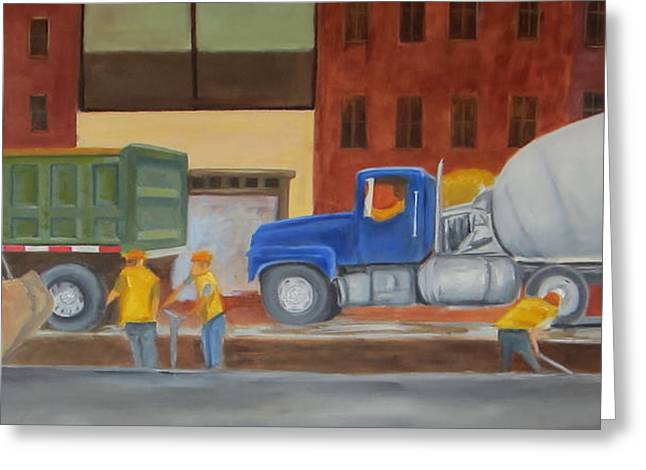Road Crew Greeting Cards - Men At Work Greeting Card by Patricia Cleasby