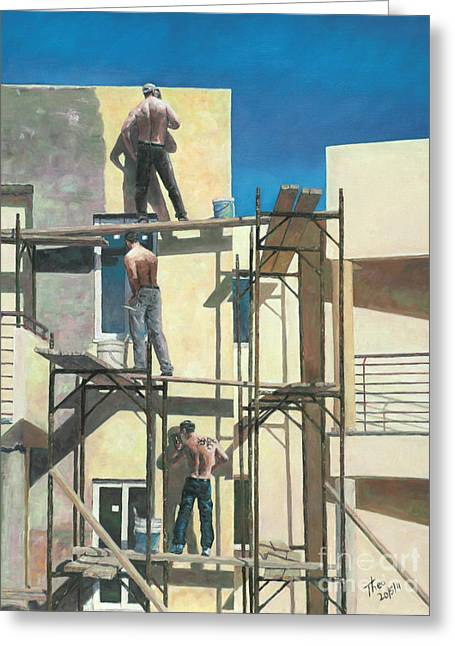 At Work Greeting Cards - Men At Work Greeting Card by Theo Michael