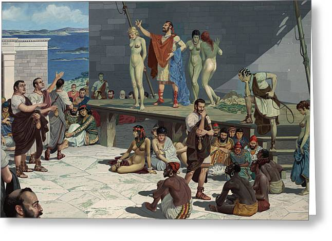 Ancient People Greeting Cards - Men Bid On Women At A Slave Market Greeting Card by H.M. Herget