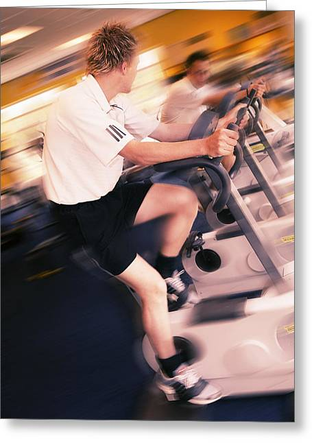 Sporting Activities Greeting Cards - Men Exercising Greeting Card by Mark Sykes