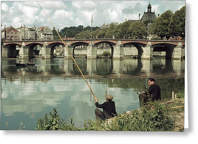 Two Fishing Men Greeting Cards - Men Fish On The Marne River Greeting Card by Howell Walker