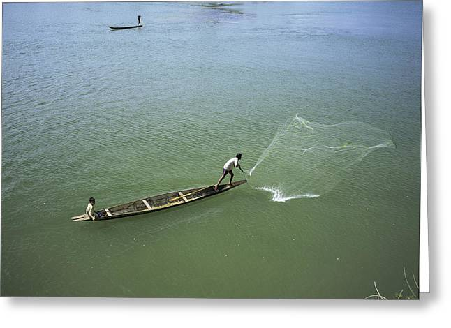 Two Fishing Men Greeting Cards - Men Fishing, Laos, Asia Greeting Card by Bjorn Svensson