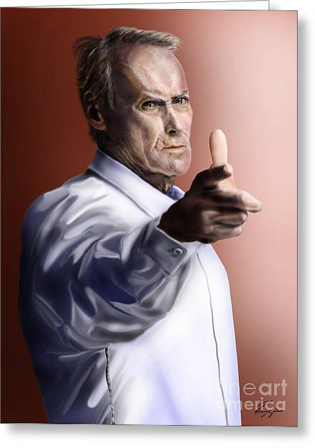 Police Officer Greeting Cards - Men must know their limitations-Clint Eastwood Greeting Card by Reggie Duffie