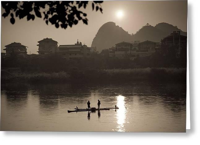 Two Fishing Men Greeting Cards - Men On A Raft Fishing Guangxi Greeting Card by Keith Levit